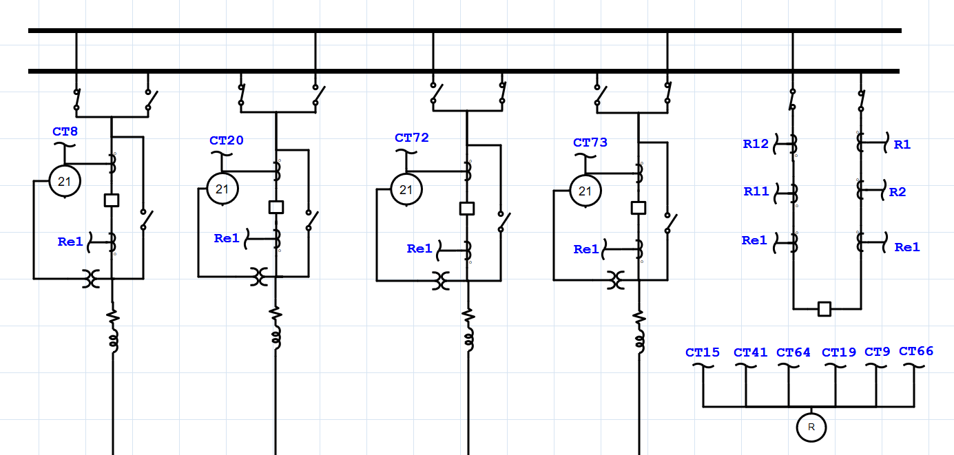 Transmission system one-line diagram showing a double-bus configuration