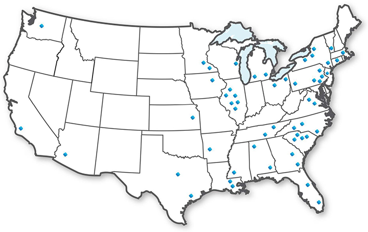 map of US etap nuclear users