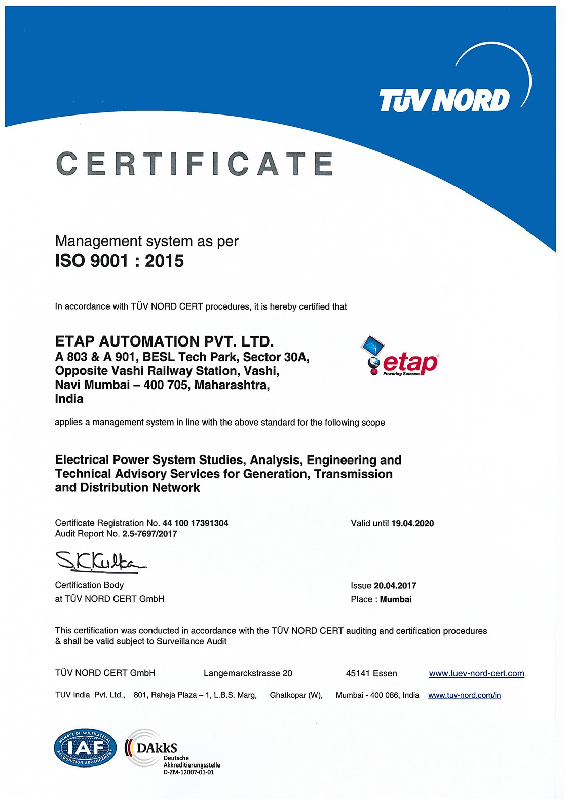 Etap Automation India And Mena Get Accredited For Iso 9001