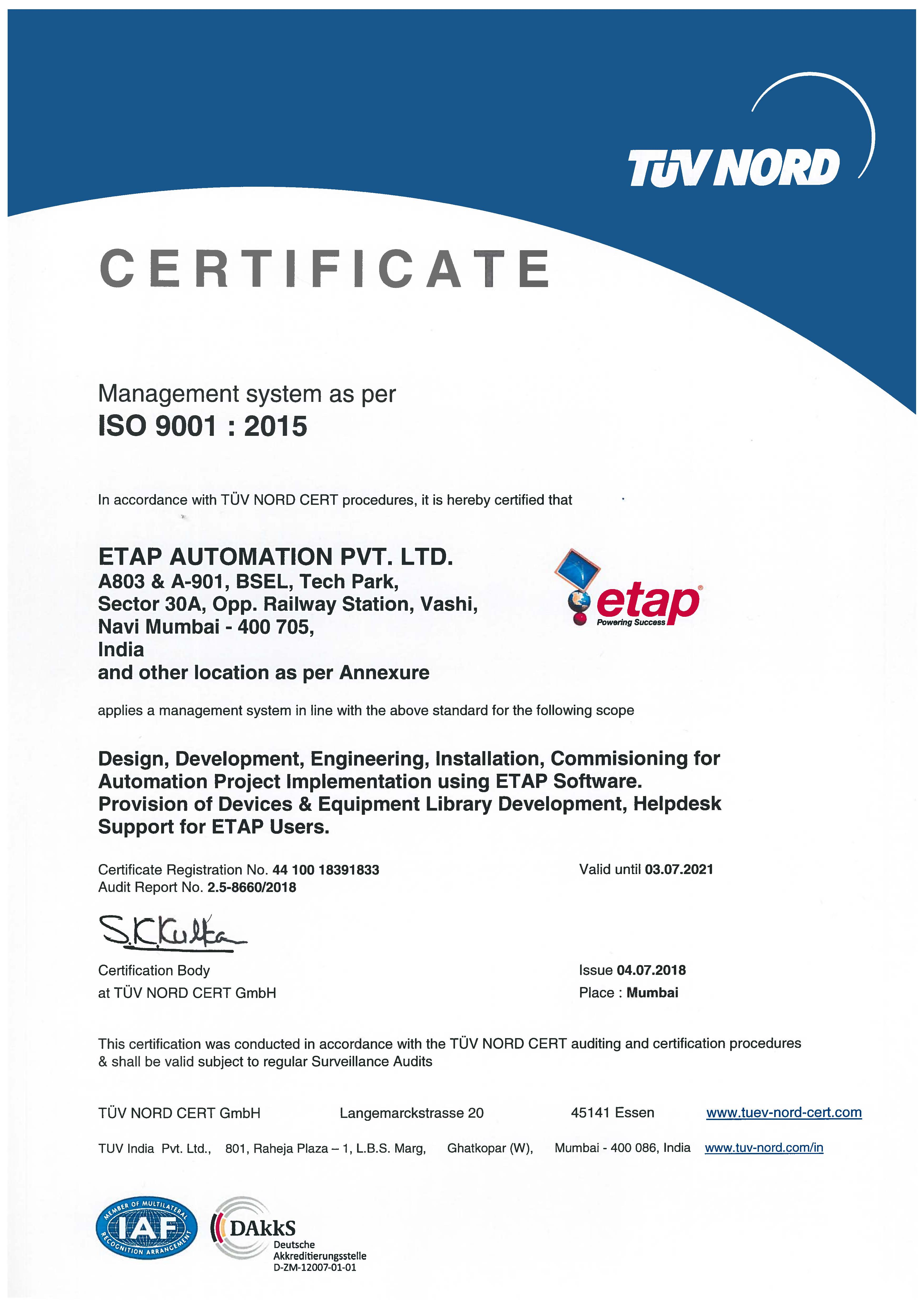 Etap Automation India Expands Iso 9001 Certification Scope