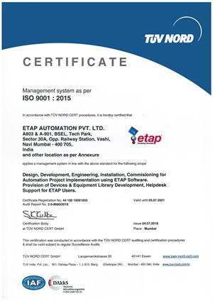 ETAP India  ISO 9001:2015 Certificate by TUV Nord