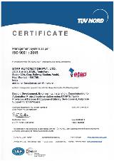 ETAP ISO 9001:2015 Certificate by TUV Nord