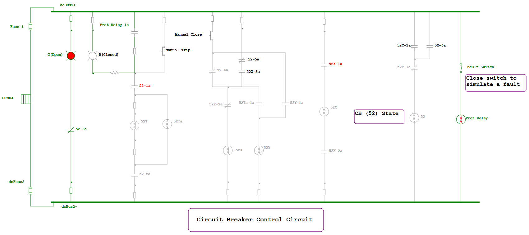 DC Control Systems Diagram for circuit breaker control circuit