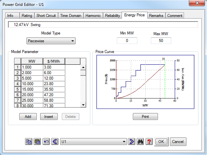 Power Grid Editor showing energy price curve