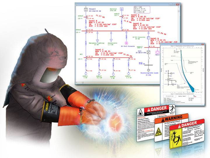 Electrican with PPE equipment and Arc Flash Labels, one-line diagram with printed results, and TCC curves
