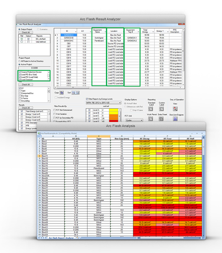 Arc Flash reports put together in a single view with the option to export into excel.