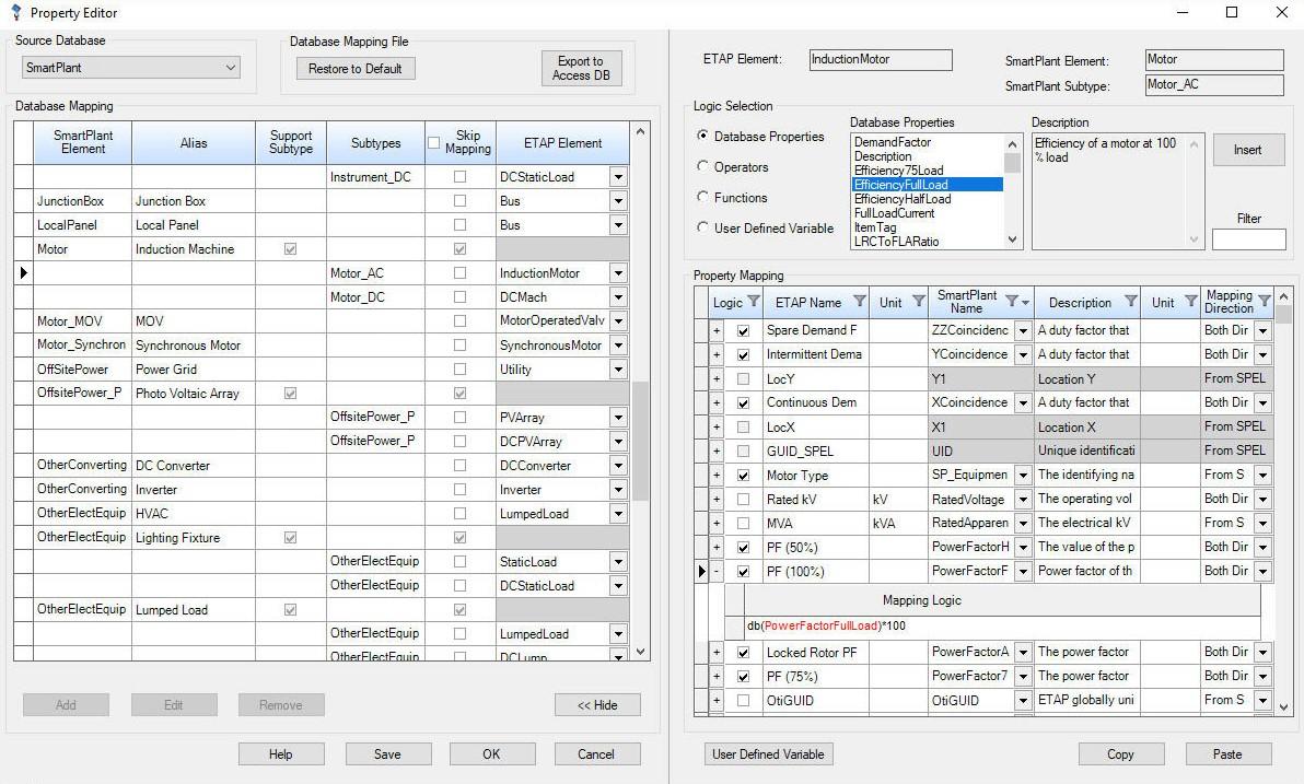 etap universal mapping interface editor. etap universal mapping tool data exchange  data import  export