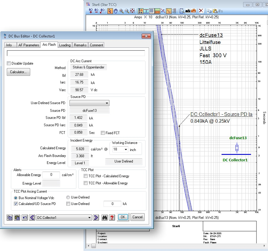 ETAP DC Arc Flash Analysis - Graphical DC Arc Current Reference Plot on TCC View