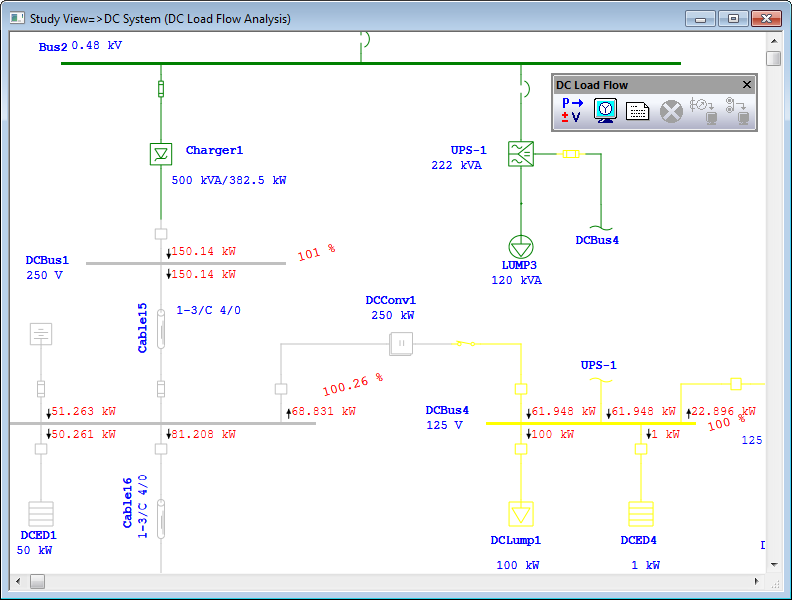 DC Load flow analysis with results printed on a one-line diagram