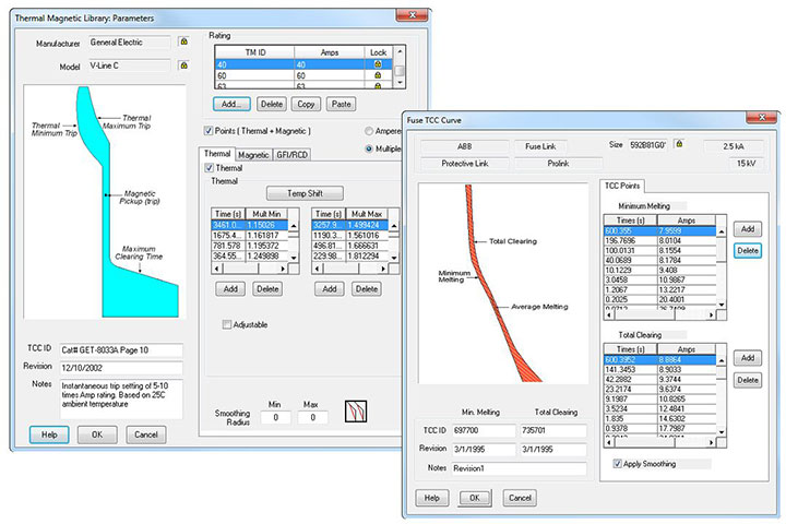 Protective Device Library Screen Shots with TCC Curve and Thermal Magnetic Trip Curves using published manufacturer data