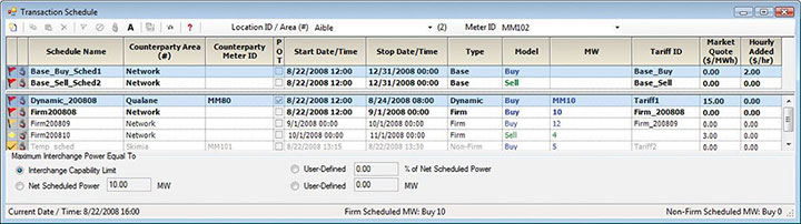 Detailed energy transaction reports for user-specified period of time
