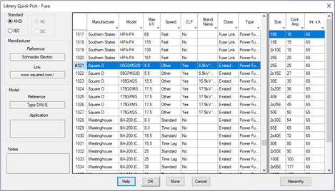 Protective Devices – Fuse Library