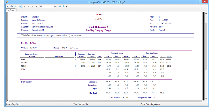 Load Analyzer output report for example project