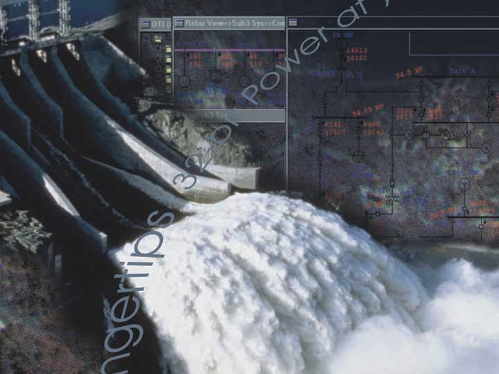 Water flowing out of a dam to respresent load flow and a one-line diagram printed with results in the background