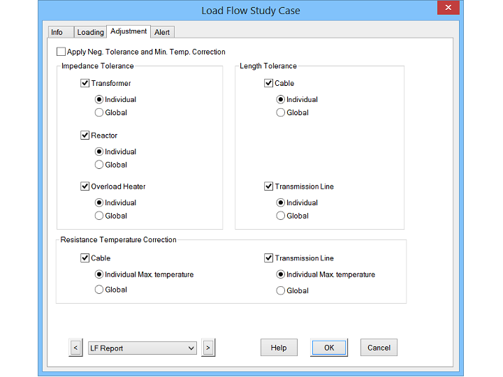 Load Flow analysis study case editor with options to change the Info, loading, adjustment, and alert