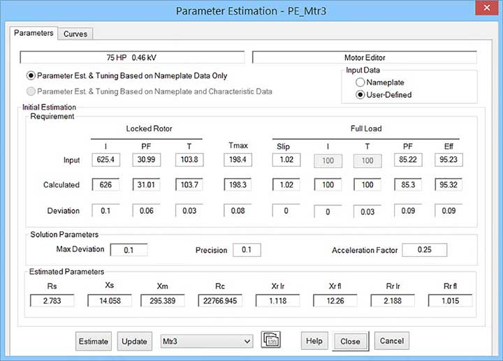 Parameter estimation editor for selected motor parameters