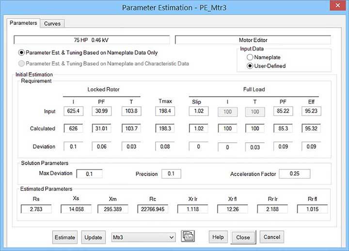 Parameter estimation editor for selected motor parameters