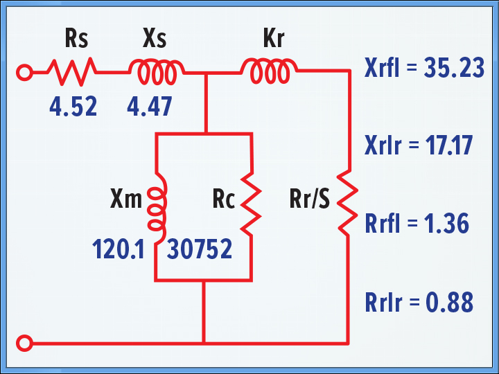 Equivalent model for selected motor