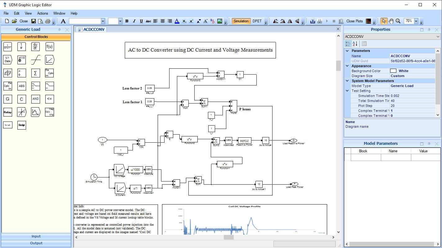 Control system diagram displayed in ETAP