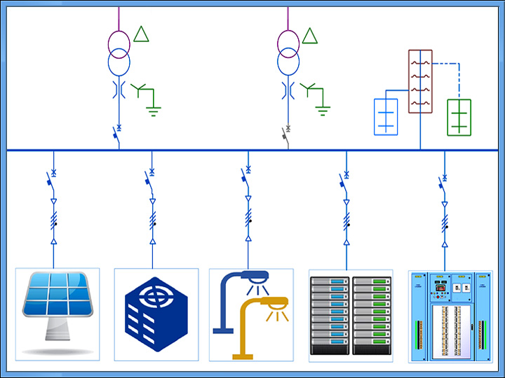 Low Voltage System Modeling One-line Diagram