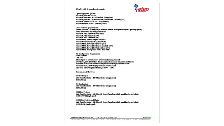 ETAP 14.1 System Requirements