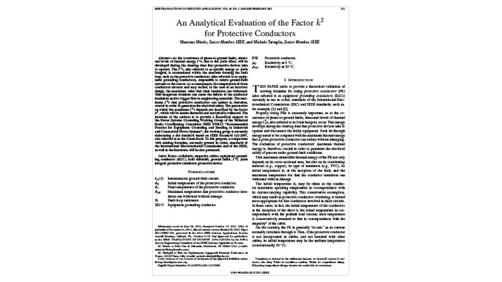 An Analytical Evaluation of the Factor K squared for Protective Conductors