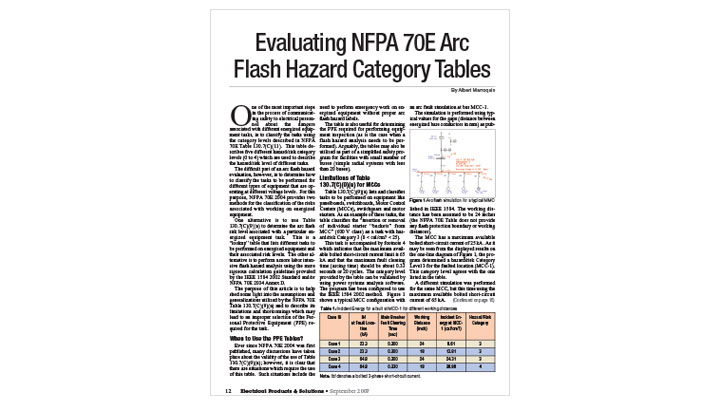 Evaluating NFPA 70E Arc Flash Hazard Category Tables