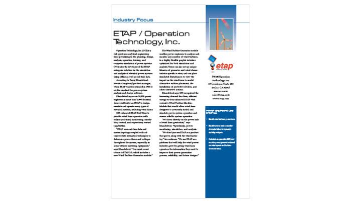 Wind Industry Focus: ETAP Wind Turbine Generator