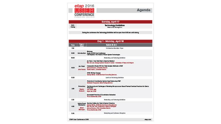 ETAP User Conference 2016 Agenda