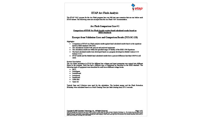 Comparison of ETAP Arc Flash Results Against Hand Calculated Results Based on IEEE Standards