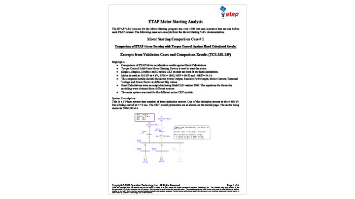 Comparison of ETAP Motor Starting with Torque Control Against Hand Calculated Results