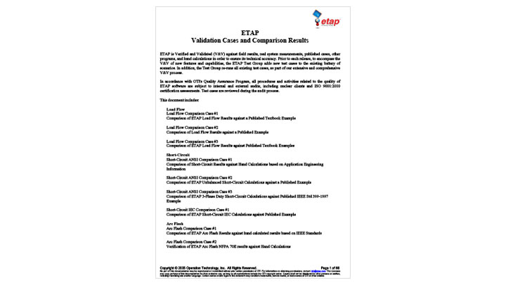 ETAP Validation Cases and Comparison Results