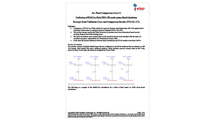 Verification from ETAP Arc Flash NFPA 70E Results Against Hand Calculations